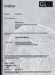 Lloyd's Certificate for the right execution of repair and installation work on the ships of any class, Slovenia, 2012