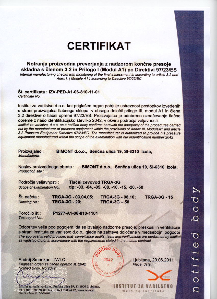homogenizer dispersant TRGA certificate permission to use